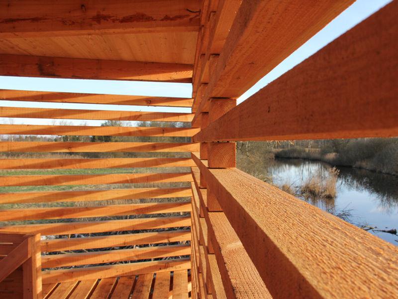 Holzkonstruktion Innenansicht Pfrunger-Burgweiler Ried Architekturlokal