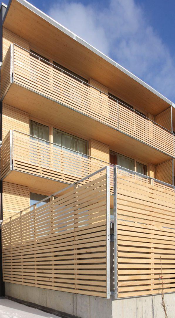 Aussenfassade Nullenergiehaus als Klasse 4 Holzbau (LBO)